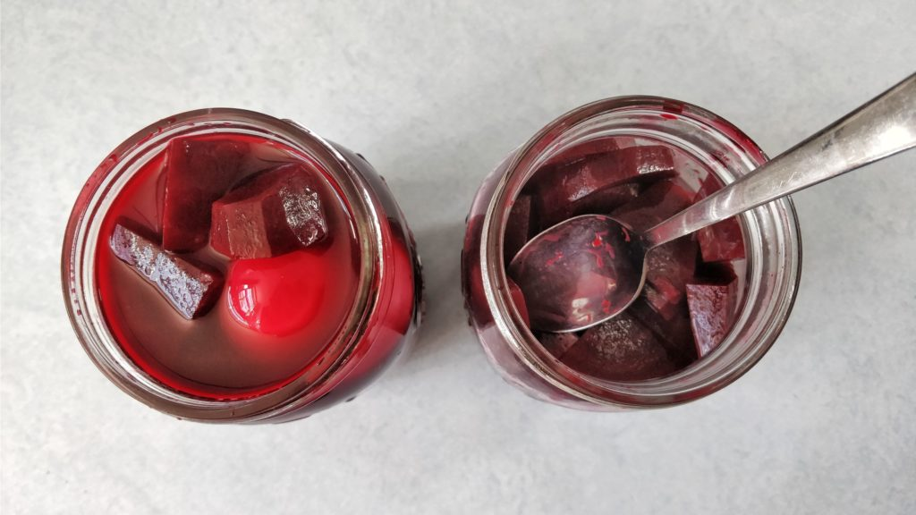 Eggs in pickled beet brine, they are died red instantly.